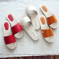 Sen Female Style Comfortable Linen Flat Art Fan Slipper Leather Breathable Small Fresh Summer New Simple