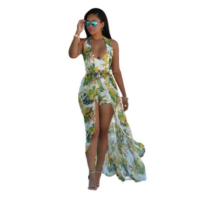 ee0b0d0ca58 2016 Fashion Jumpsuit Flower Print Halter Neck Maxi Romper For Women ...