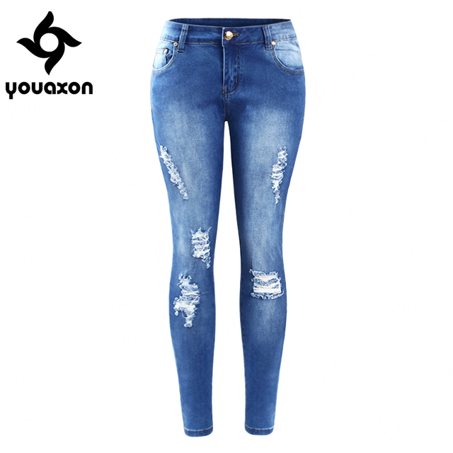 2016 Youaxon EU SIZE Ripped Fading Jeans Women`s Plus Size Stretchy Denim Skinny Distressed Jeans For Women Jean Pencil Pants