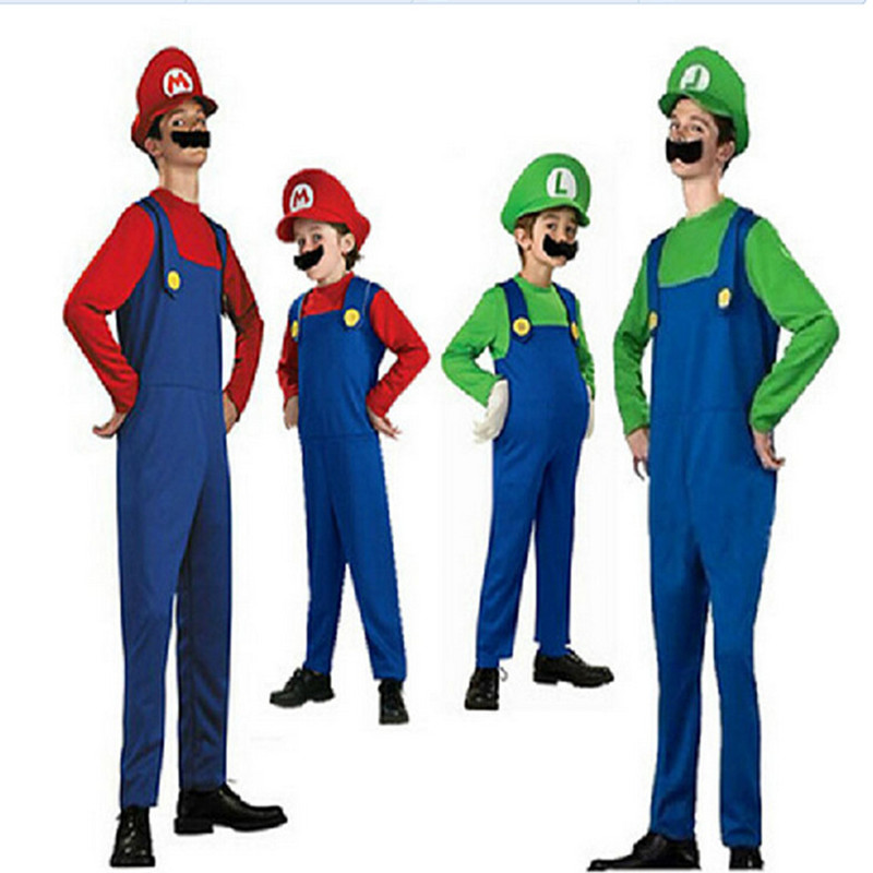 2018 Cosplay Costume Super Mario Luigi Brothers Plumber Fancy Dress Up Party Costume Cute Kids Costume