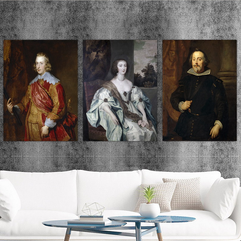 Home Decoration Print Canvas Art Wall Pictures Poster Canvas Printings Paintings England Anthony van dyck 5 Portrait in Painting Calligraphy from Home Garden