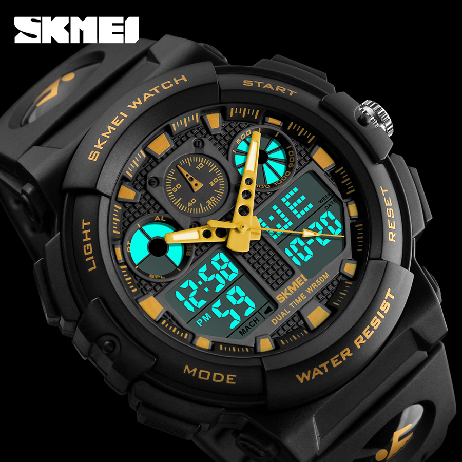 купить SKMEI Mens Sports Watches Man Quartz Digital LED Electronic Dual Display Wristwatches Relojes Watwrproof Relogio Masculino 1270 недорого