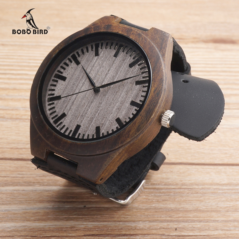BOBO BIRD 2017 Top Brand Luxury Men Watches Black Wood Watches Wrist Watch relogio masculino - Black Leather Band C-F08