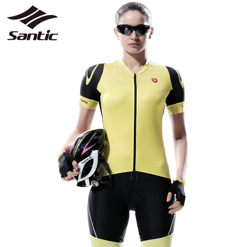 Santic Pro Women Cycling Kit Sets Clothing MTB Road Short Sleeve Bicycle Bike Jersey Pro Padded Shorts Feminina Female S-XL 2017 santic women cycling shorts black spandex pro padded 2017 triathlon running sleeveless mtb road bike bicycle shorts skinsuit
