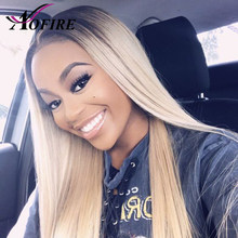 1B/613 Straight Hair Lace Front Wigs Pre Plucked Wig Brazilian Human Remy Hair Wig with Dark Black Root Bleached Knots For Women(China)