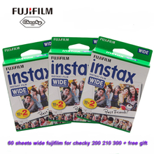 Original fujifilm instax filme ampla instantânea 60 folhas brancas para polaroid mini câmera w300 200 210 100 500af