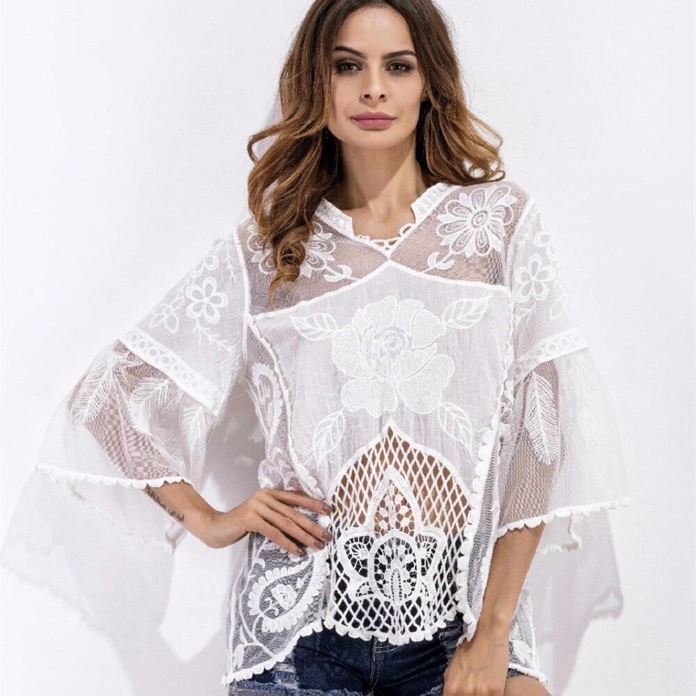Blanco sexy ahuecan hacia fuera blanco flare manga blusa verano de las mujeres v