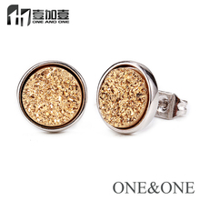 New Design earings fashion jewelry Natural Druzy Stone Round Shape 8mm 24K Gold Color Druzy Stud Earrings
