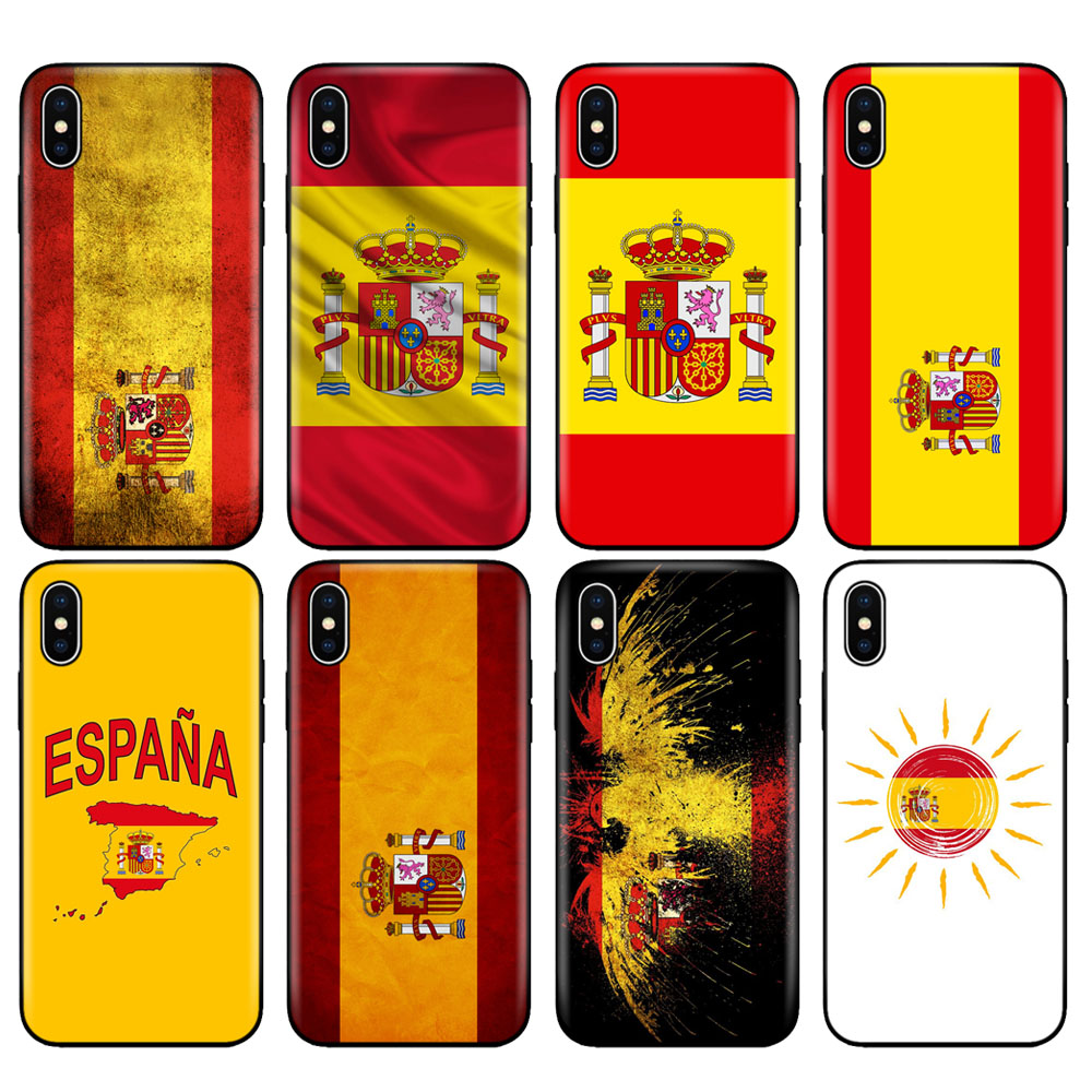 >Black tpu case for iphone 5 5s se 6 6s 7 8 plus x 10 case silicone for iphone XR XS 11 pro MAX case Spain <font><b>Spanish</b></font> flag camp nou