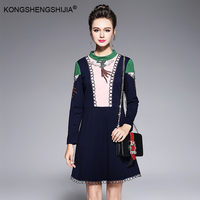 2017 Autumn Winter Women Dress O Neck Dark Blue Full Sleeve Embroidery Contrast Color A Line