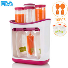 Baby Food Maker Make Organic Food Newborn Fresh Fruit Juice Containers Storage Baby Feeding Maker Squeeze Station With Pouches(China)