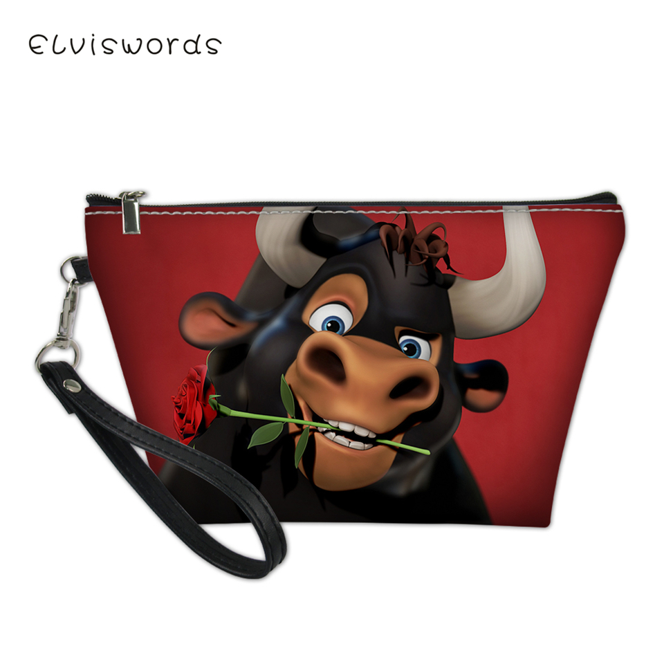 ELVISWORDS Cosmetic Bag Ferdinand Pattern Functional Cartoon Women Fashion Leather Travel Make Up Necessaries Pouch Toiletry Kit in Cosmetic Bags Cases from Luggage Bags