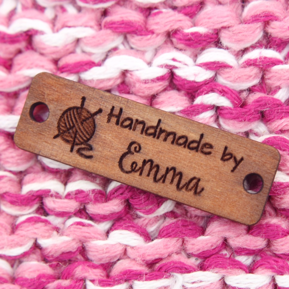 Wooden Labels, Custom Text, Knitted Labels, Personalized Labels, Custom Engraving Labels, Artistic Fonts (WDBQ05)