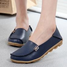 Damskie buty mieszkania prawdziwej skóry letnie na co dzień mokasyny płaskie buty wsuwane mokasyny miękkie buty damskie oddychające buty pielęgniarskie Oxford tanie tanio Dla dorosłych Wiosna jesień Stałe Metalu dekoracji Pasuje prawda na wymiar weź swój normalny rozmiar Skóra bydlęca