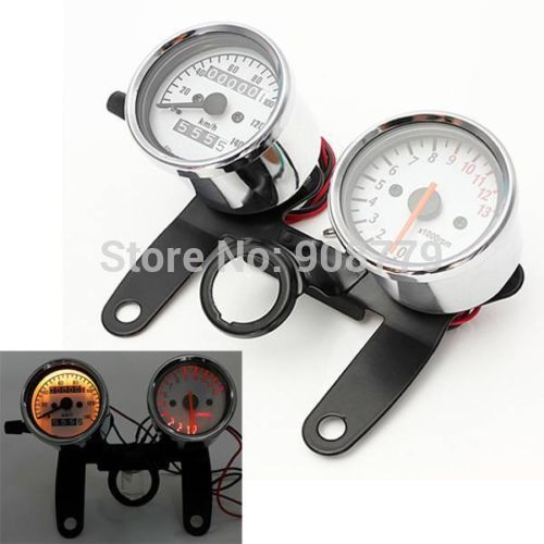 Free Shipping Brand new 2 in 1 0-180km/h Universal LED Motorcycle Tachometer + Odometer Speedometer Gauge With Bracket  old school motorcycle gauges