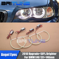 COB LED Angel Eyes Halo Rings For BMW E46 3 Series 1999 2004 Non Projector HID Xenon Headlight Retrofit DIY Style 131mm + 146mm