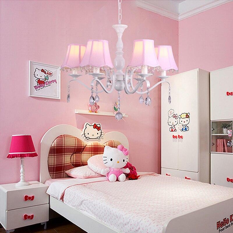 innovative girls bedroom chandelier | Iron bedroom crystal chandelier pink princess room warm ...