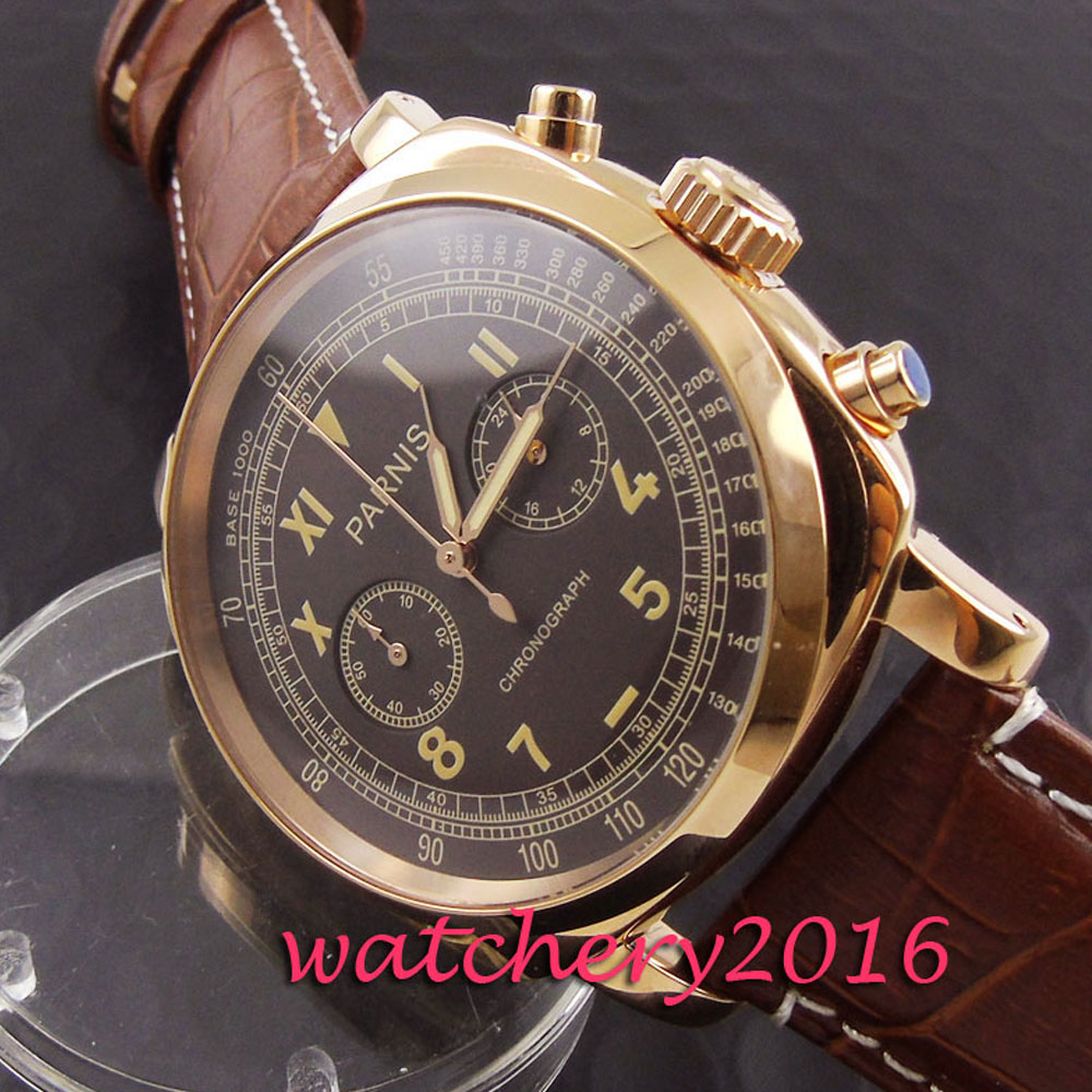 Fashion 44mm Parnis brown dial Stainless steel golden plated case leather strap Chronograph Quartz Movement Mens business Watch