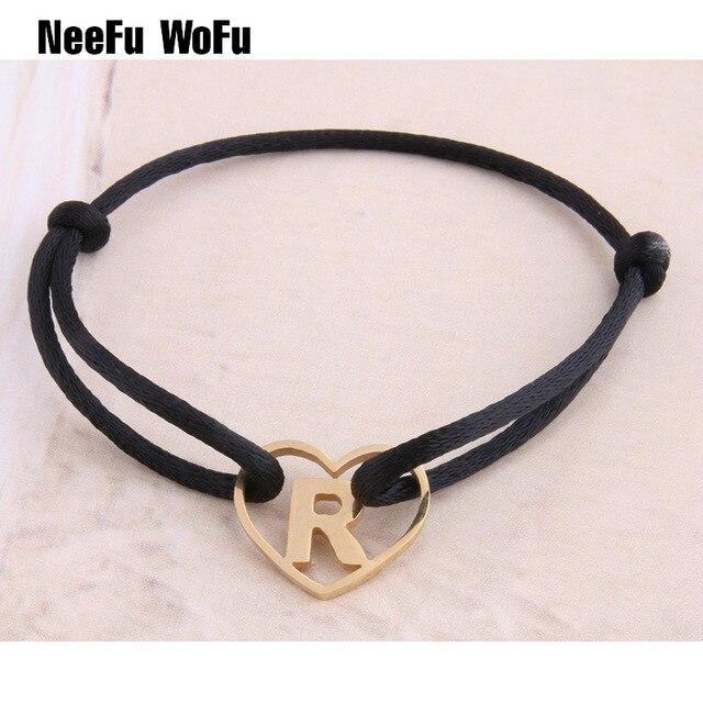 NeeFuWoFu 26 letters Bracelets Stainless Steel Bohemia de Madera Pulseira Estrel