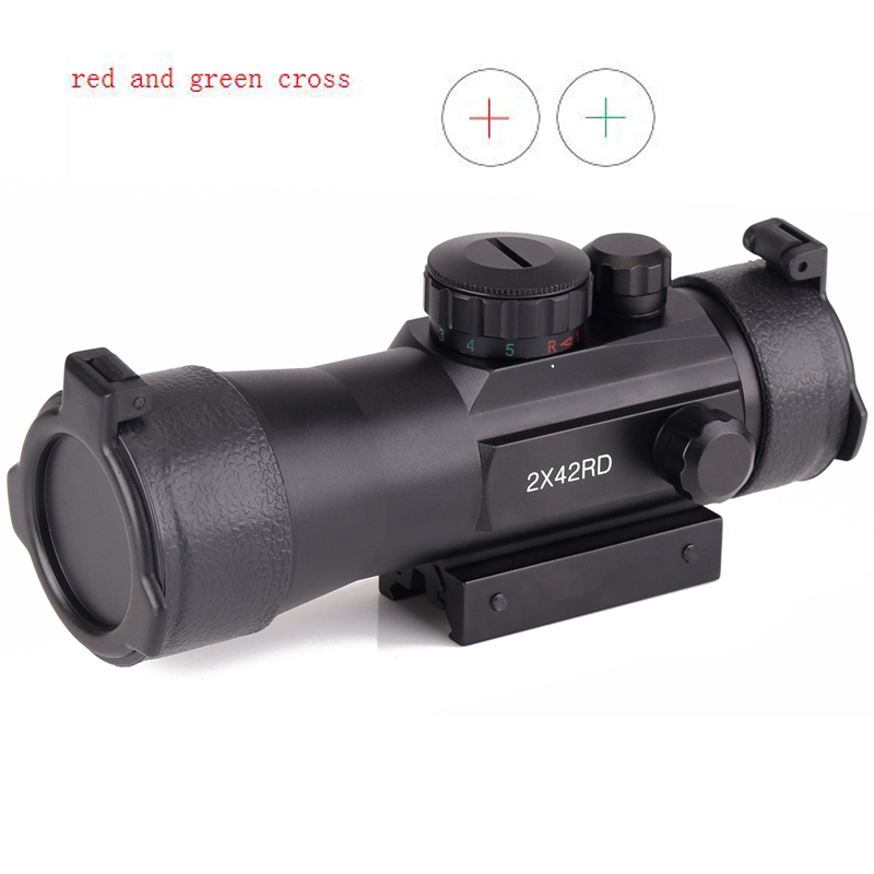 Hot Sale 2x42 Red Cross Scope With 11mm And 20mm Rail Red Cross Sight Red/green Illuminutedfor Rifle Scope For Hunting