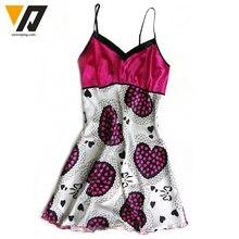 Nightgown Womens Lingerie Night Dress Satin Silk Sleepwear Pattern Robe Nightdress Sleepshirts Pink L-XL