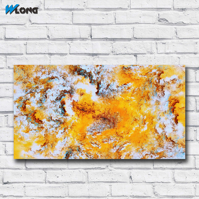 WLONG Fashion Oil Painting Abstract Colors of Yellow Cloud Wall Art ...