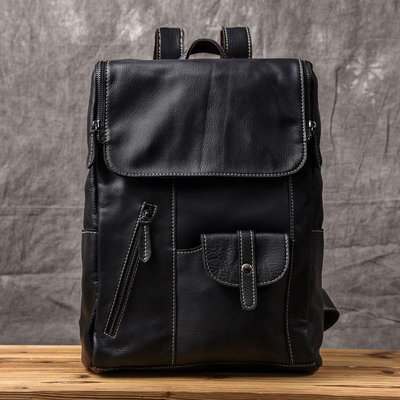 Genuine Leather soft Pockets Backpack Men High Quality Leather Travel Backpacks Man Vintage Casual School Shoulder Bags Rucksack все цены