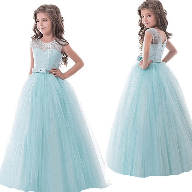 3 8T Vestido Princess Girls Lace Dresses 2017 Mint Green Flower Girl