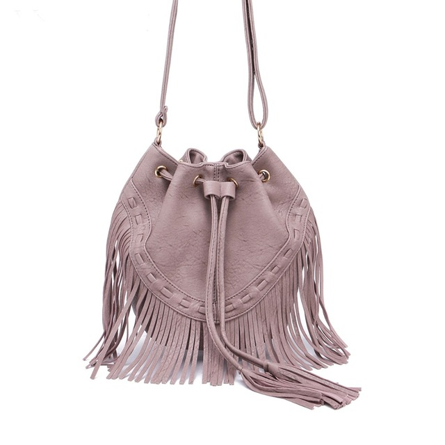 Jollque Leather Fringe Shoulder Bag Tassel Music Festival Boho Chic Indian  Hippie Gypsy Tribal Bohemian Sac Ibiza Bucket Bag ff8e0103a74e1
