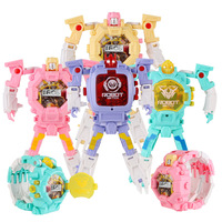 Trasformation Wristwatch Toy Children Cartoon Watches Kids Xmas Gifts Cute Boys Robot Transformation Toys Electronic Display