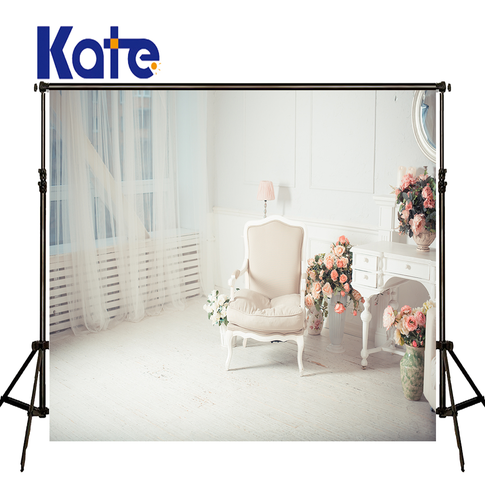 KATE Photography Backdrops 5x7ft Chair Wedding Backdrop White Wood Floor Background Curtain and Flower Backdrop for Photocall
