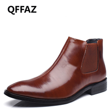 QFFAZ Men shoes genuine leather flat ankle boots men's leather shoes Waterproof Footwear Fashion Comfortable vintage boots