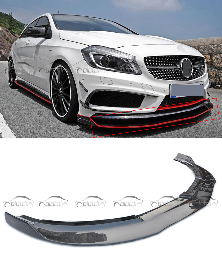 OLOTDI For Mercedes Benz C Class W176 A250 A260 A45 2013-2015 Carbon Fiber Car Styling RZ Style Front Lip Bumper Trim Protector