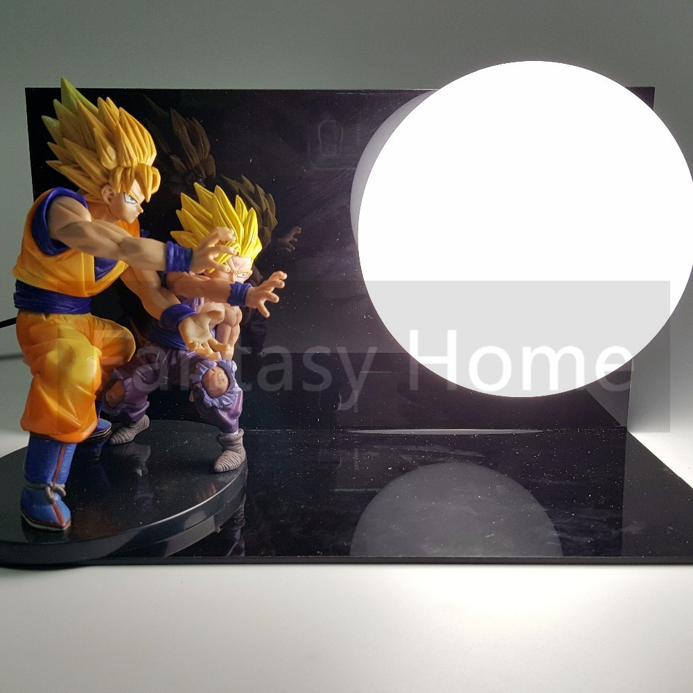 Dragon Ball Z Action Figure Son Goku Gohan Kamehameha DIY Display Toy Dragonball Z Son Gokou Dragon DBZ+Base +Bulb DIY34 genuine bandai exclusive tamashii nation 10th anniversary s h figuarts dragon ball z son gokou goku kaiohken ver action figure
