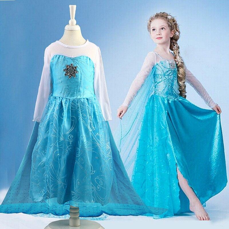Girls Dress Cartoon Cosplay Snow Queen Princess Dresses Elsa Anna Dress Costume Toddler Girl Dresses Children Clothing 5