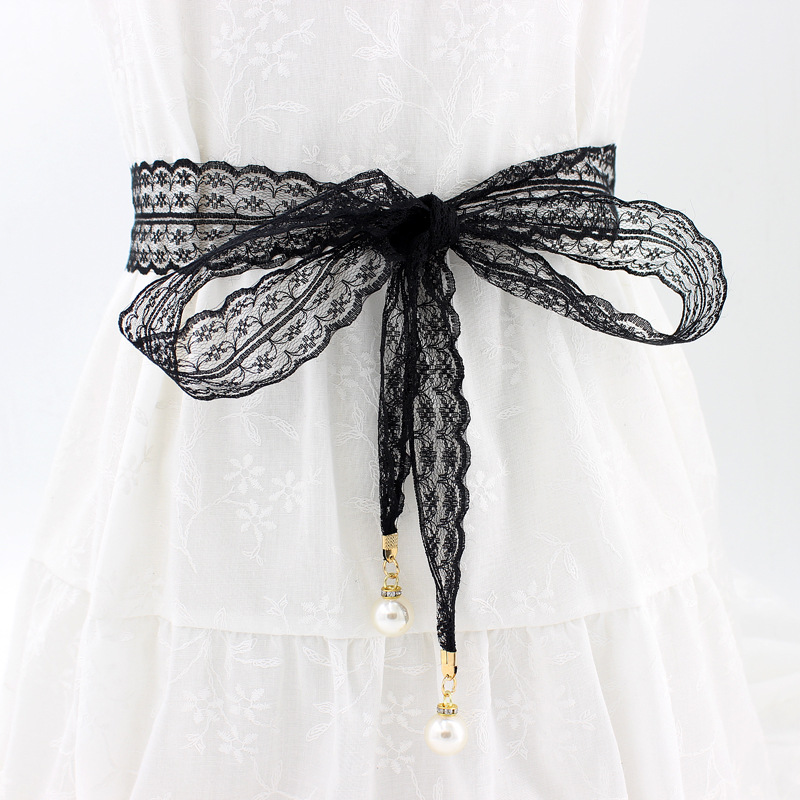 Women Fashion Belts Lace Hollow Girdle Thin Pearl Belt Rope For Dresses Tassel Waistband Belt Knot Decorated Narrow Ribbon Black