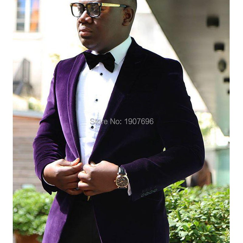Purple Velvet Wedding Men Suits 2018 Two Piece Jacket Black Pants Peaked Lapel Trim Fit Groom Tuxedos Custom Made Free Tie
