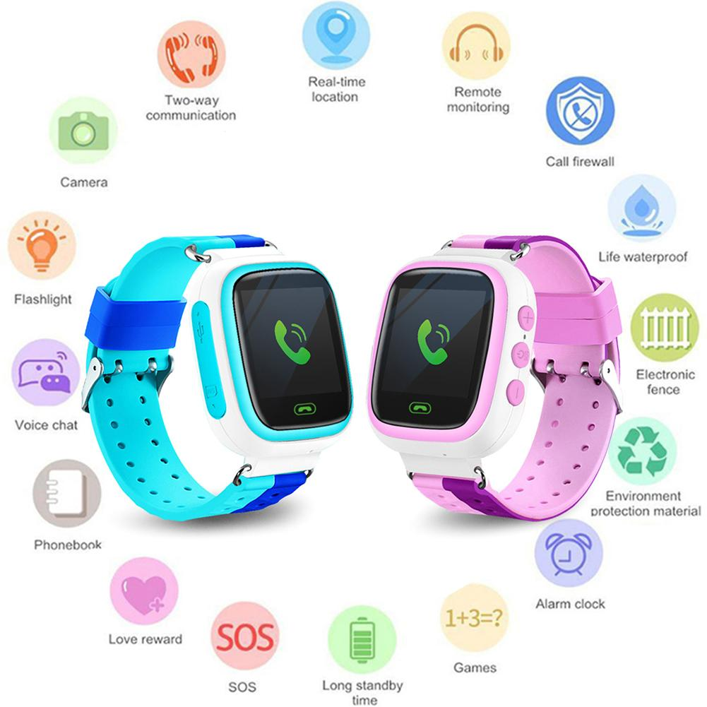 Q18 Childrens Smart Watch SIM Card Color Touch LBS PositioningSecurity Clock Tracker For Kid Boy Gift
