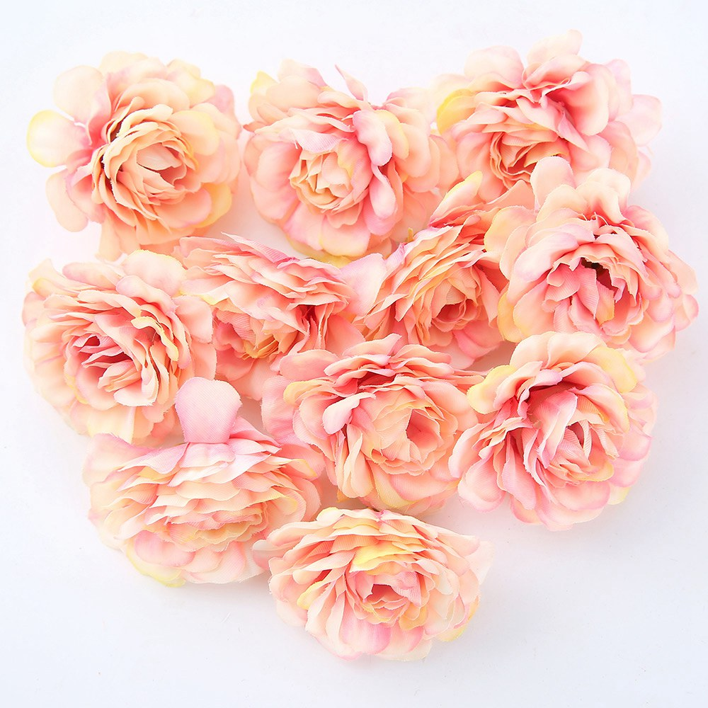 10pcs/lot 5CM Silk Rose Head Artificial Flowers For Wedding Party And Home Decorations 2
