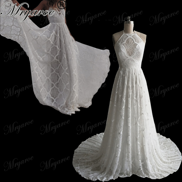 e393e5bd02c2 Mryarce 2018 Lastest Design Unique Lace Pattern Long A Line Princess Wedding  Dress Open Back Bridal Gowns vestido de noiva
