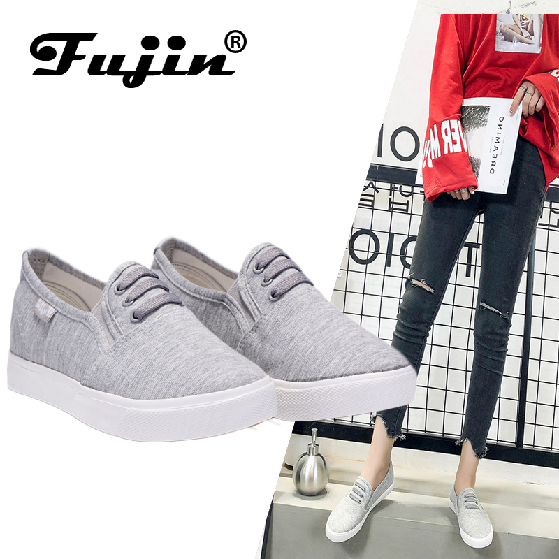 Fujin canvas shoes Women's spring autumm shoes 2020 fshion sneakers solid sewing adult canvas shoes woman fabric sapato feminino
