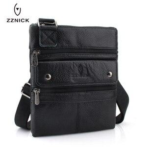 Image 3 - Zznic bolsa masculina de couro legítimo, bolsa masculina de tamanho pequeno em couro legítimo, modelo carteiro com alça carteiro, ideal para viagens, 2020 bolsas de mão