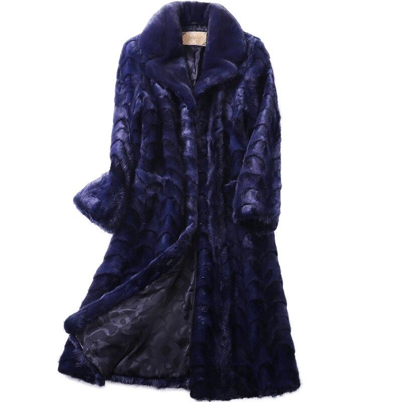 Luxury Genuine Sliced Mink Fur Coat Jacket Turn-down Collar Winter Genuine Women Fur X-Long Outerwear Plus Size 3XL 4XL LF5179