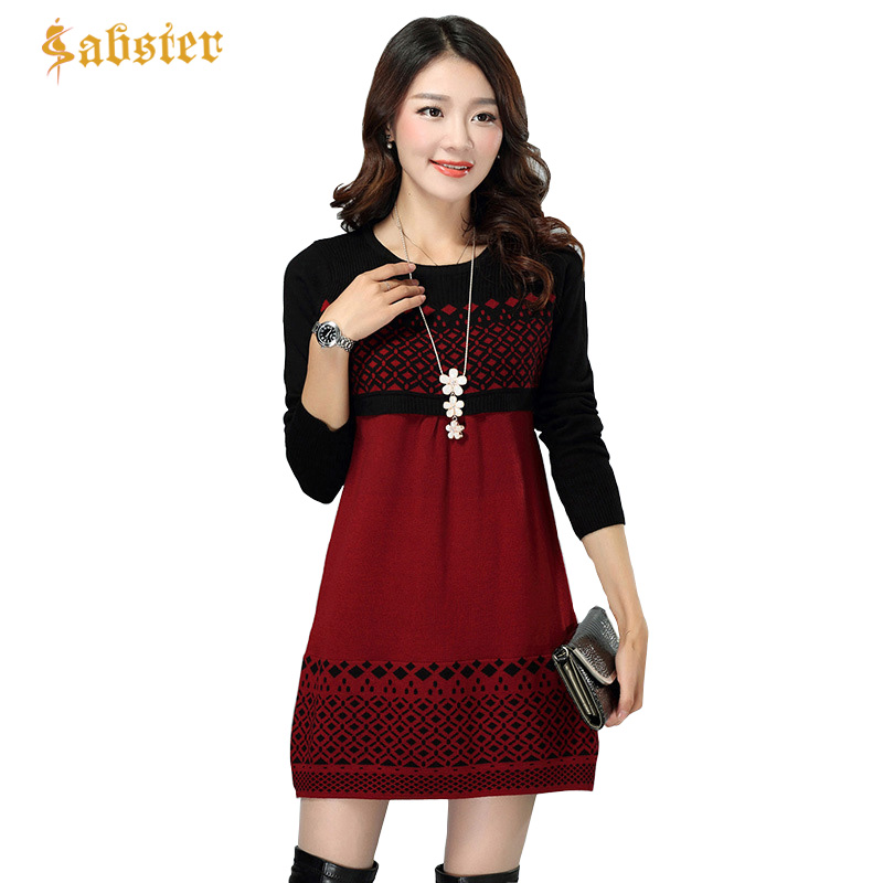 Women Sweater Dress Autumn Winter Warm Ladies Pullover Causal Loose Patchwork O-neck Full Sleeve Female Knitted Dresses multic femme skullies autumn beanies winter warm chapeau women hat female knitted cap ladies bonnet