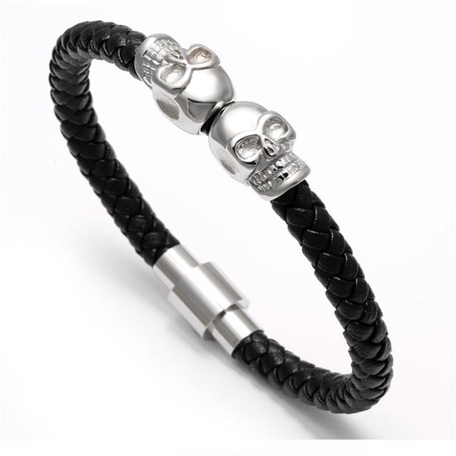 Leather Double Skull Bracelet for Men
