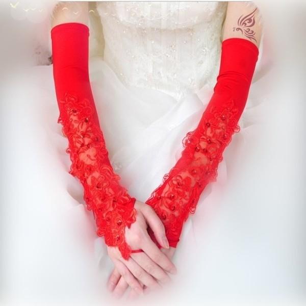 2016 Quente Do Casamento Do Laço Branco com Luvas Sem Dedos Cotovelo Comprimento das Luvas Gants Mariage Vermelho Luva Nupcial Tamanho Livre Em Estoque
