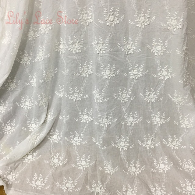 3d Embroidery Lace Fabric Embroidered Cotton Floral Fabric For