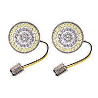 Pair Motorcycle 1157 White Amber Turn Signal LED Inserts 2Bullet Style For Harley Dyna Sportster Street Glide FLHX Touring