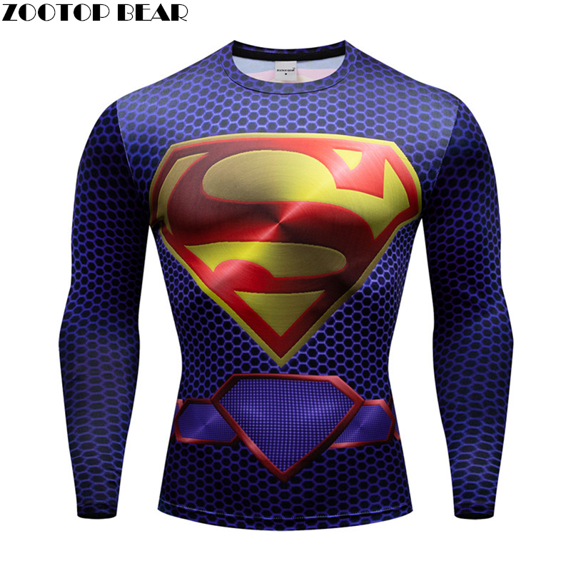 Superman t shirt Men Compression Top Superhero 3d Print quick dry Breathable Fitness Male Spring T-shirt Long Sleeve ZOOTOP BEAR