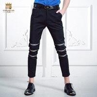 FanZhuan Gratis Verzending fashion casual mannelijke mannen zomer mannen pure taille mond bloem borduren broek persoonlijkheid broek 618027